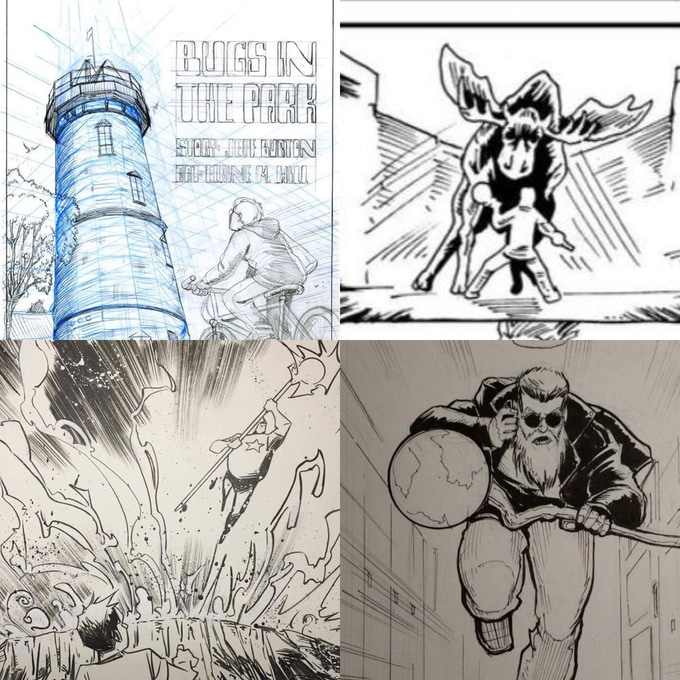 Quick looks at the inprocess art for various stories in the comic featuring art by Elaine Will (top left), A. Shay Hahn (top right), Justin Shauf (bottom left) and Chris Yao (bottom right)