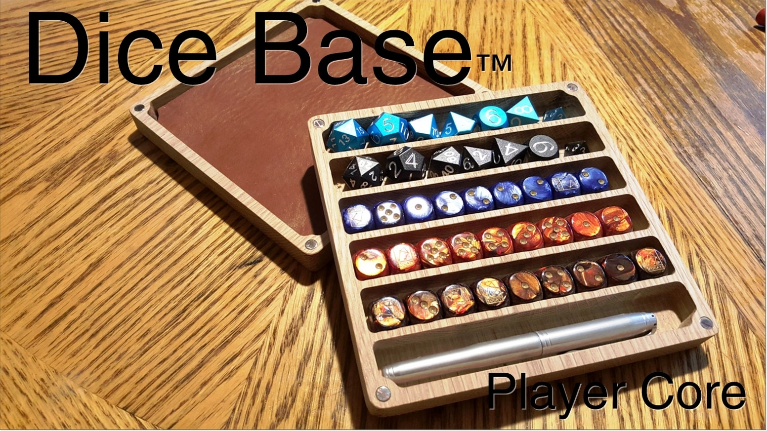 Made from the finest cherry and oak hardwood this dice case, pen holder and rolling surface provides all you need to role-play in style