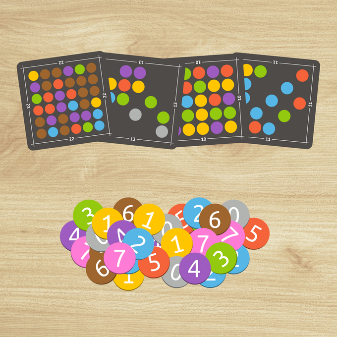 84 colorful puzzle grids and 108 number tiles