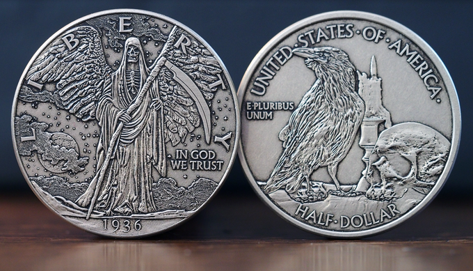 The 'Walking Reaper' - actual coin finish may vary.