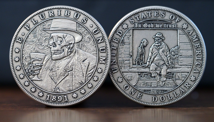 The 'Old Hobo' - actual coin finish may vary.