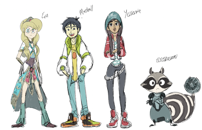 Original Character Designs for Broken: Erin, Patrick (used to be called Marshall), Yessenia, and Electrocoon