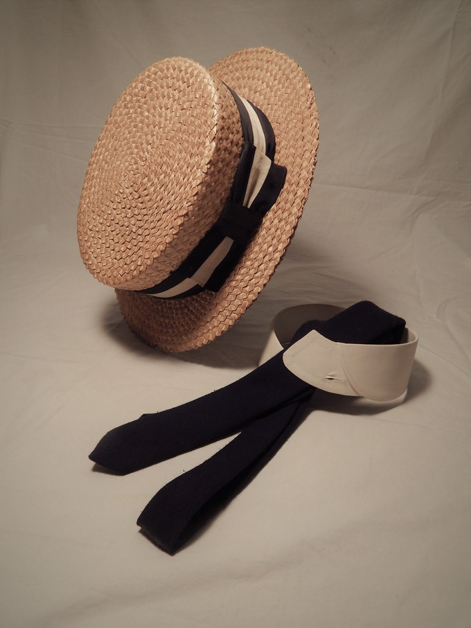 Original Props: Randolph Carter's Wardrobe; Collar, Tie and Boater Straw Hat!!!