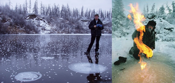 Methane bubbles from degrading permafrost trapped under ice (left).  My father lighting methane on fire (right)