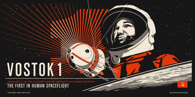 "32""x16"" Screen Print of Vostok 1 (as of March 5)"