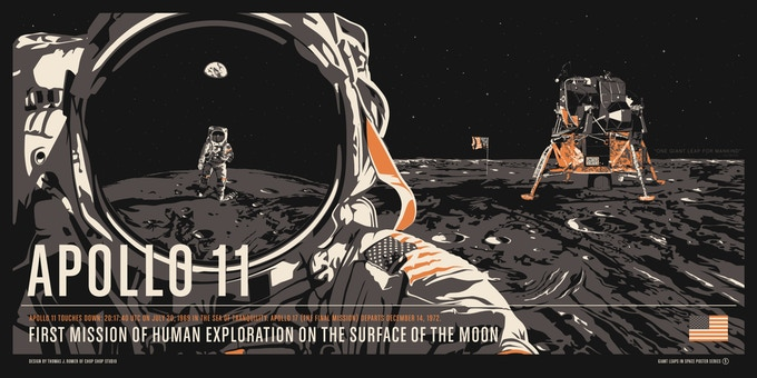 "32""x16"" Screen Print of Apollo 11"