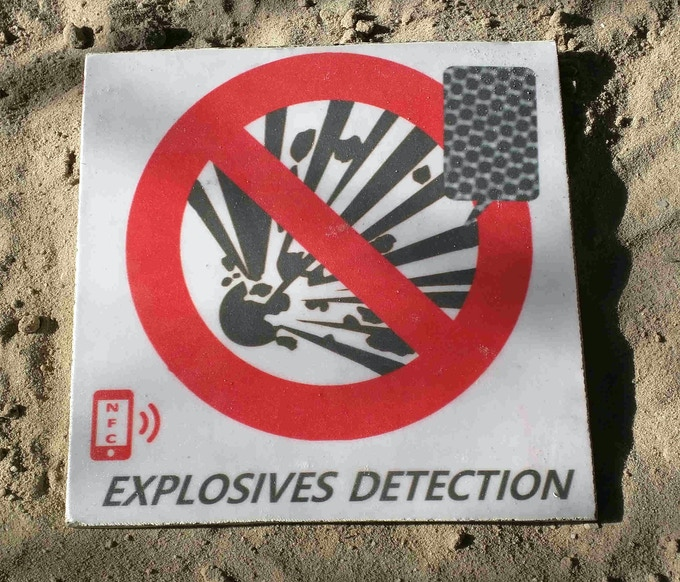 explosives detection paving slab