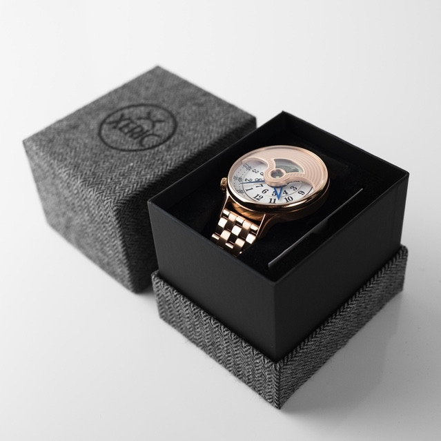 Open box with stamped black logo on herringbone wool - featuring the Rose Gold Evergraph Automatic EGA-3015 SS Open box with stamped black logo on herringbone wool - featuring the Rose Gold Evergraph Automatic EGA-3015 SS