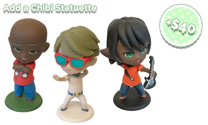 Add $40 to your pledge for each additional Chibi Statuette you'd like!