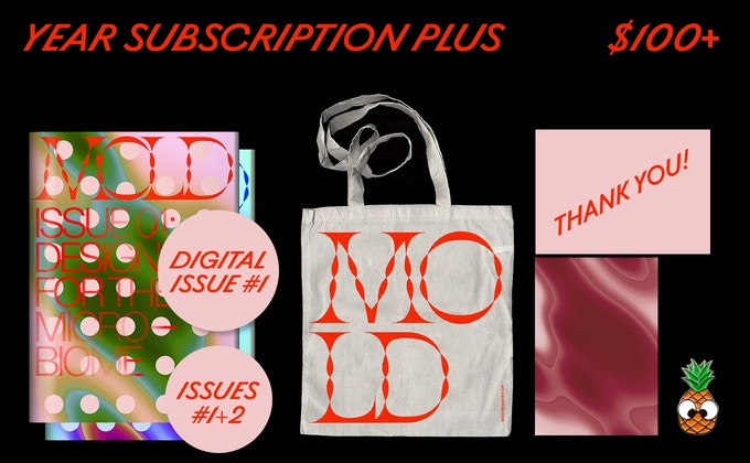 "A 2017 subscription to MOLD Magazine Issues #01 and #02, ""thank you"" in print and online PLUS a full product pack."