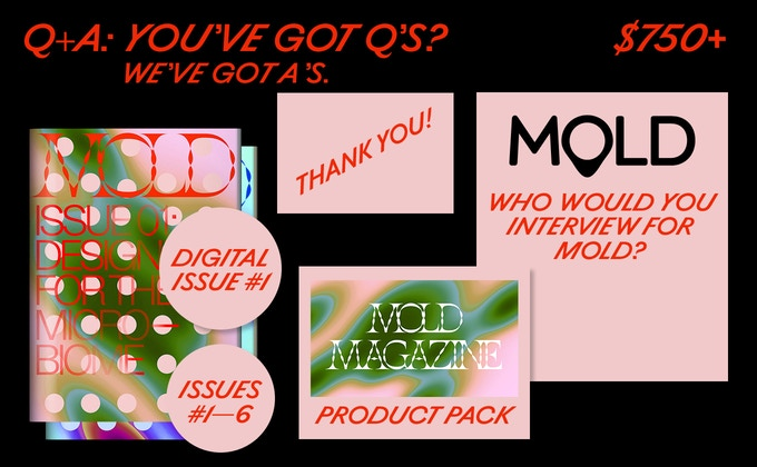 "Co-publish a story on thisismold.com! And you'll also get Issues #01-06 of MOLD Magazine, a ""thank you"" in our debut issue and online, plus a full product pack."