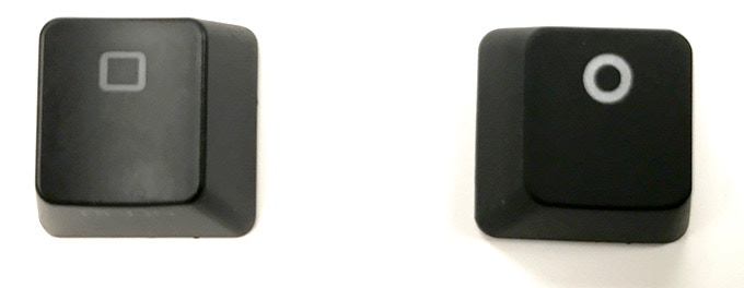 Left: Traditional 2-step gray legend. Right: Special 3-step bright white legending process used on the Freestyle Edge