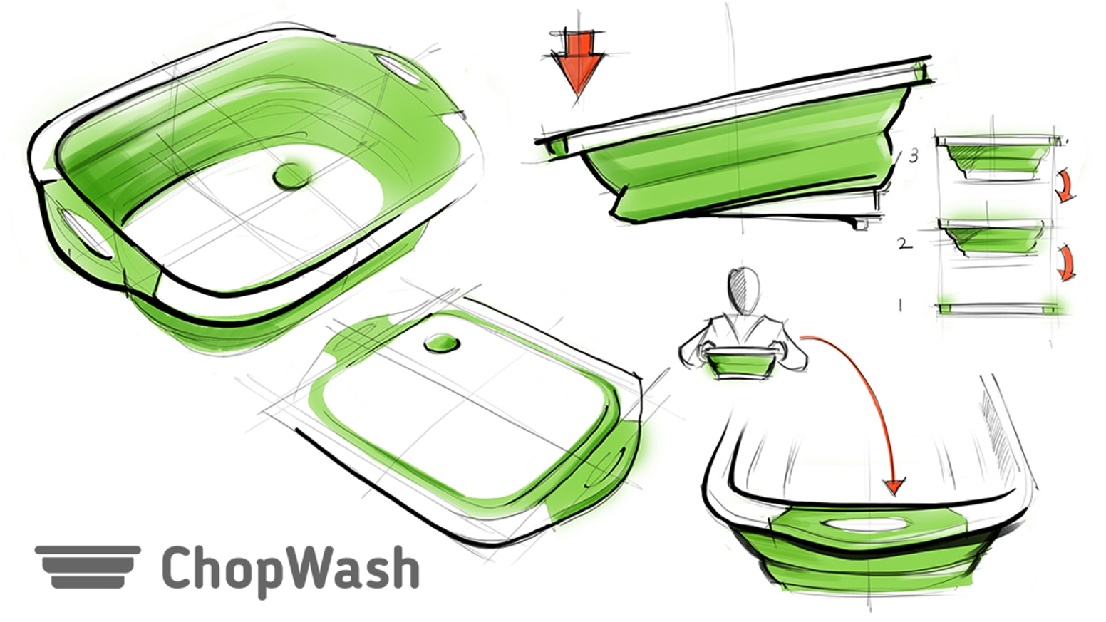 Not just a cutting board, not just a washing bowl! ChopWash is so much more! ! Cook – Squish – Store! It is that easy!