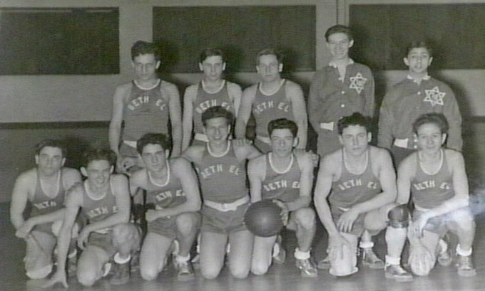Temple Beth El 1953 Basketball team, photo courtesy of the Rabbi Leo M. Franklin Archive at Temple Beth El