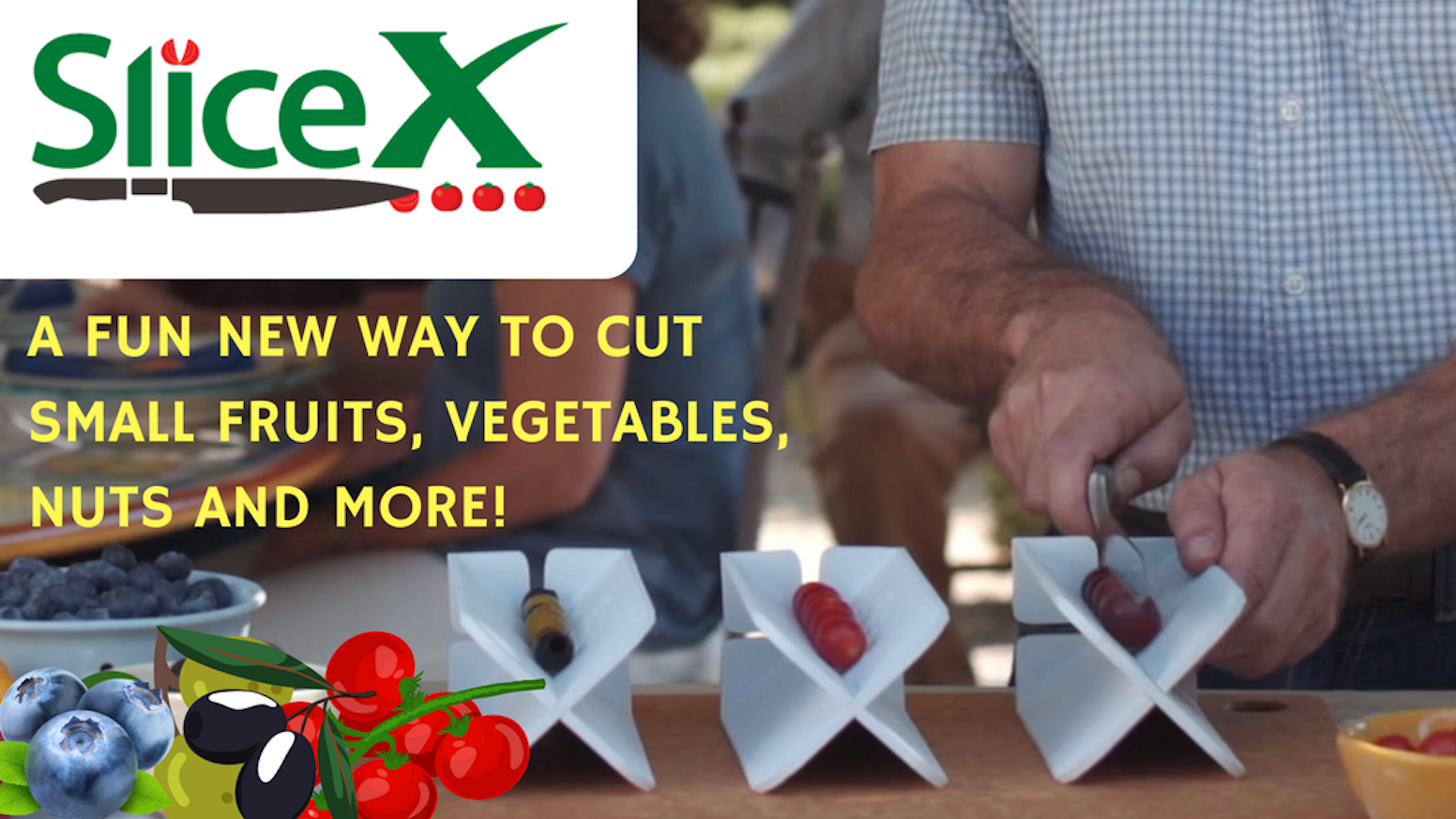 SliceX is a redesigned cutting board that makes slicing small, round produce faster and safer.  Have more FUN in the kitchen!