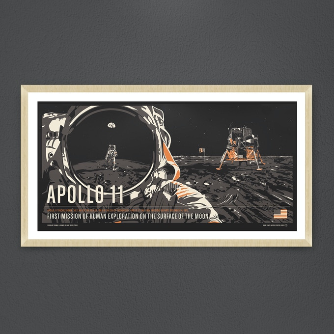 "Apollo 11: 32""x16"" Screen Print"
