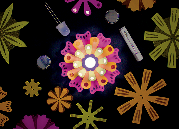 "DIY Light-Up Paper Flowers ""Neon"" Color Combination: Orange, Yellow, and Hot Pink"