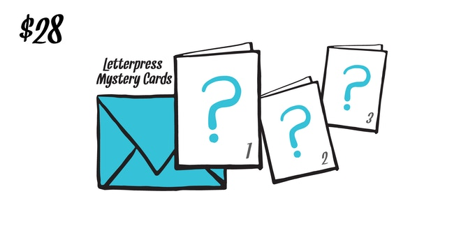 All Three Mystery Letterpress Cards [designs are... secret. shh]