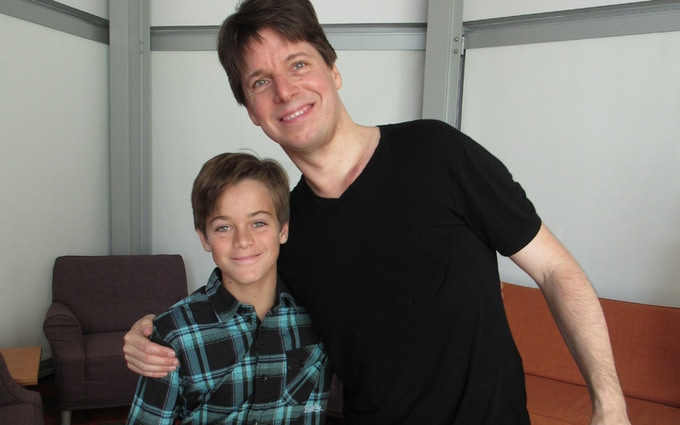 Wesley backstage with Joshua Bell (click for the story in LA Parent magazine)
