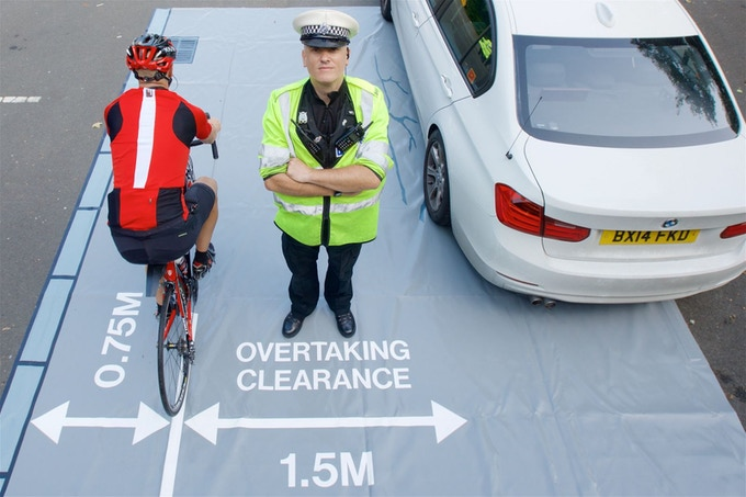 """West Midlands Police's close pass mat is called by Cycling UK the: """"Best cyclist road safety initiative ever"""""""