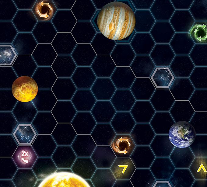 A part of the solar system, with planets, space dust and some of the special hexagons.