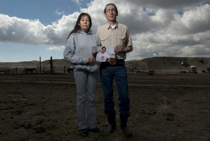 Photograph from Shane's 2009 piece about justice on the Crow Reservation; Earline and Cletus Cole whose son's killing has gone without being prosecuted since 2005.