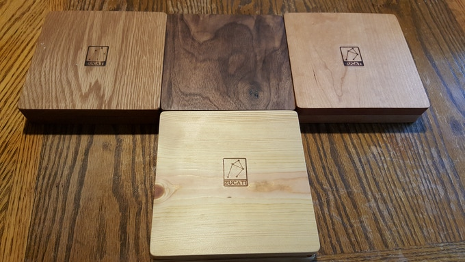 Left to right: Oak - Walnut - Cherry and Pine below