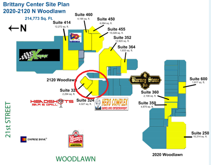 Suite 324 & 328 is ours. Site plan also shows similar entertainment businesses.
