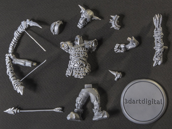 Actual 3D printed parts of Goblin Archer.