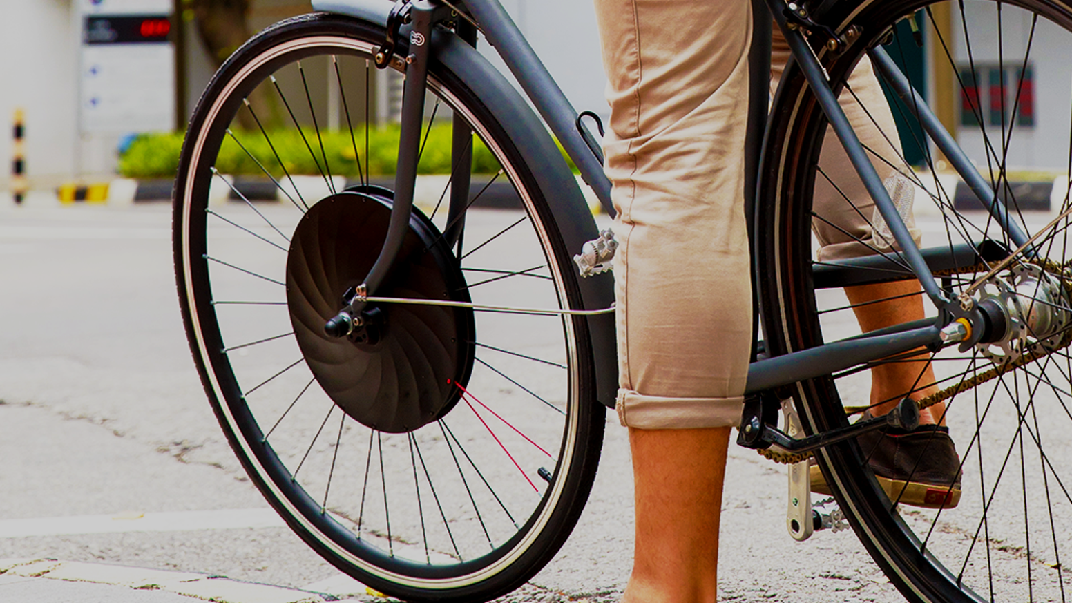 Simply replace your front bike wheel with the UrbaNext Electric E-Bike  Wheel to instantly