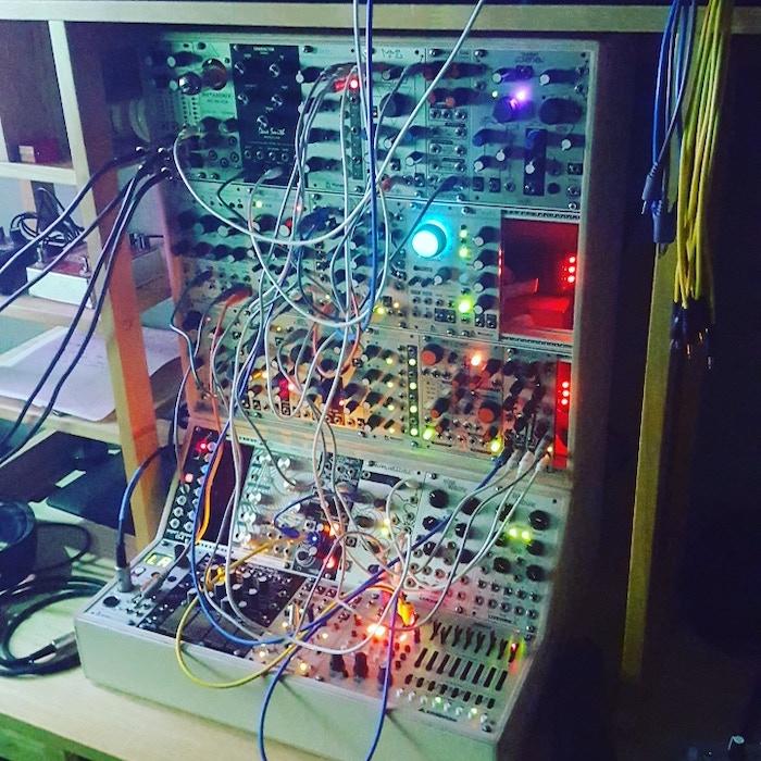 "Jonathan's modular synth board, aka his ""Babies""."
