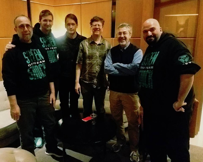 A group photo from last week at GDC with: Larry Kuperman, Stephen Kick, Joe Fielder, Paul Neurath, Warren Spector, and Jason Fader