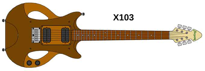 line drawing of X103 Right Handed Brown