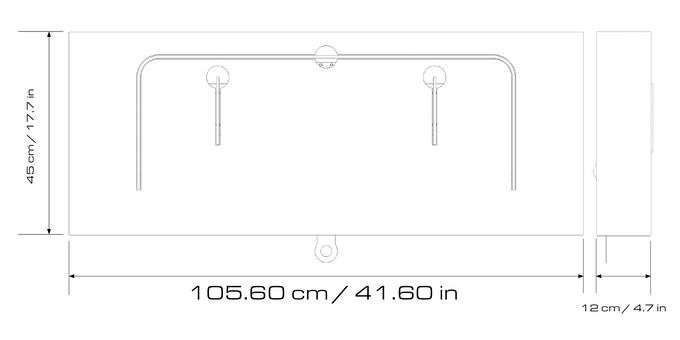 Dimensions in cm / in. Weight 14,50 kg / 32 lbs