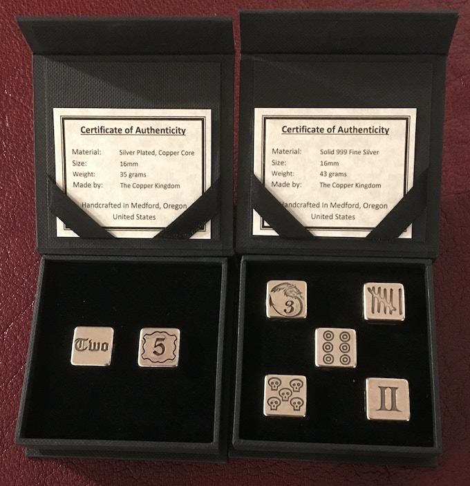 Silver Dice in Boxes