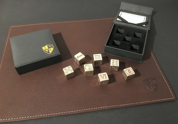 """9""""x12"""" Leather Mat. Shown with our Silver Dice."""