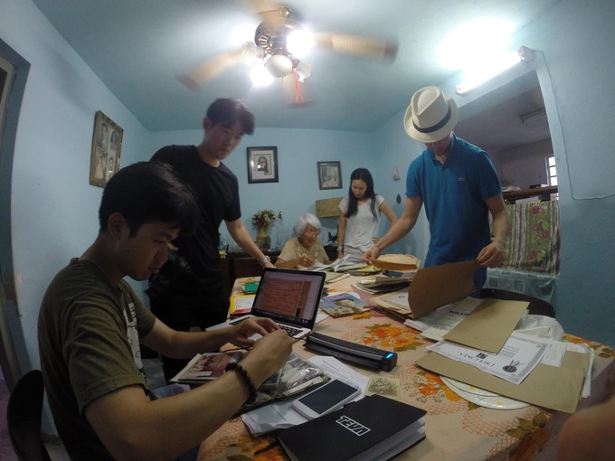 Researching and photocopying historical archives at Cristina's house in Havana, Cuba