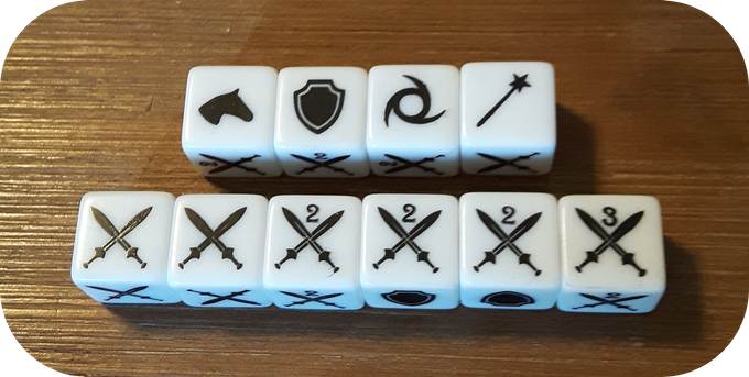 * These are samples of the actual silk screened dice. Final product may vary in color and look