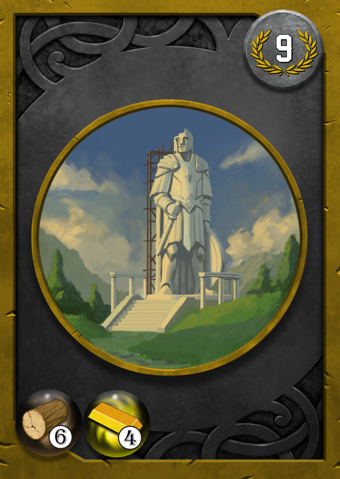 Monument Cards require a specific amount of wood and gold to build and offer high victory points