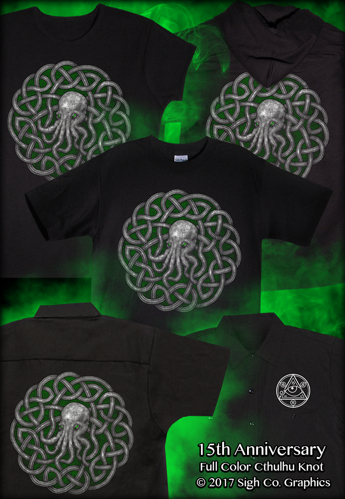 b27120861 The 15th Anniversary Cthulhu Knot is printed on front of T-shirts and  women's tees