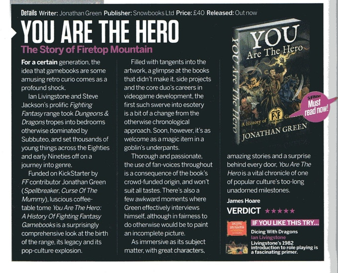 YOU ARE THE HERO reviewed in SciFiNow Magazine