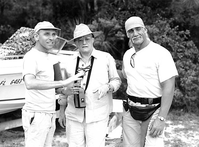 "Sam Firstenberg, Robert Vaughn & Hulk Hogan (shooting ""McCinsey's Island"")"
