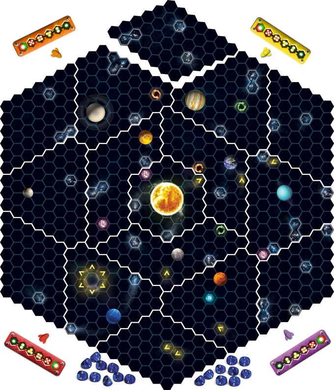 The 78cm (30 inch) gameboard consists of 16 tiles that build the ecliptic plane of our solar system.