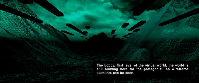 El lobby, primer nivel del mundo virtual, en esta etapa el mundo se está construyendo para el protagonista, así que elementos en wireframe se pueden ver.