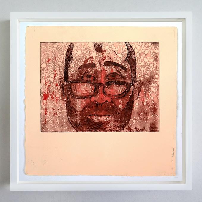 "*SOLD OUT* Pledge $750 - Get a custom-framed, Kickstarter-exclusive, 1-of-1 unique print, ""Westworld (Bernard),"" by artist Sean J Patrick Carney."