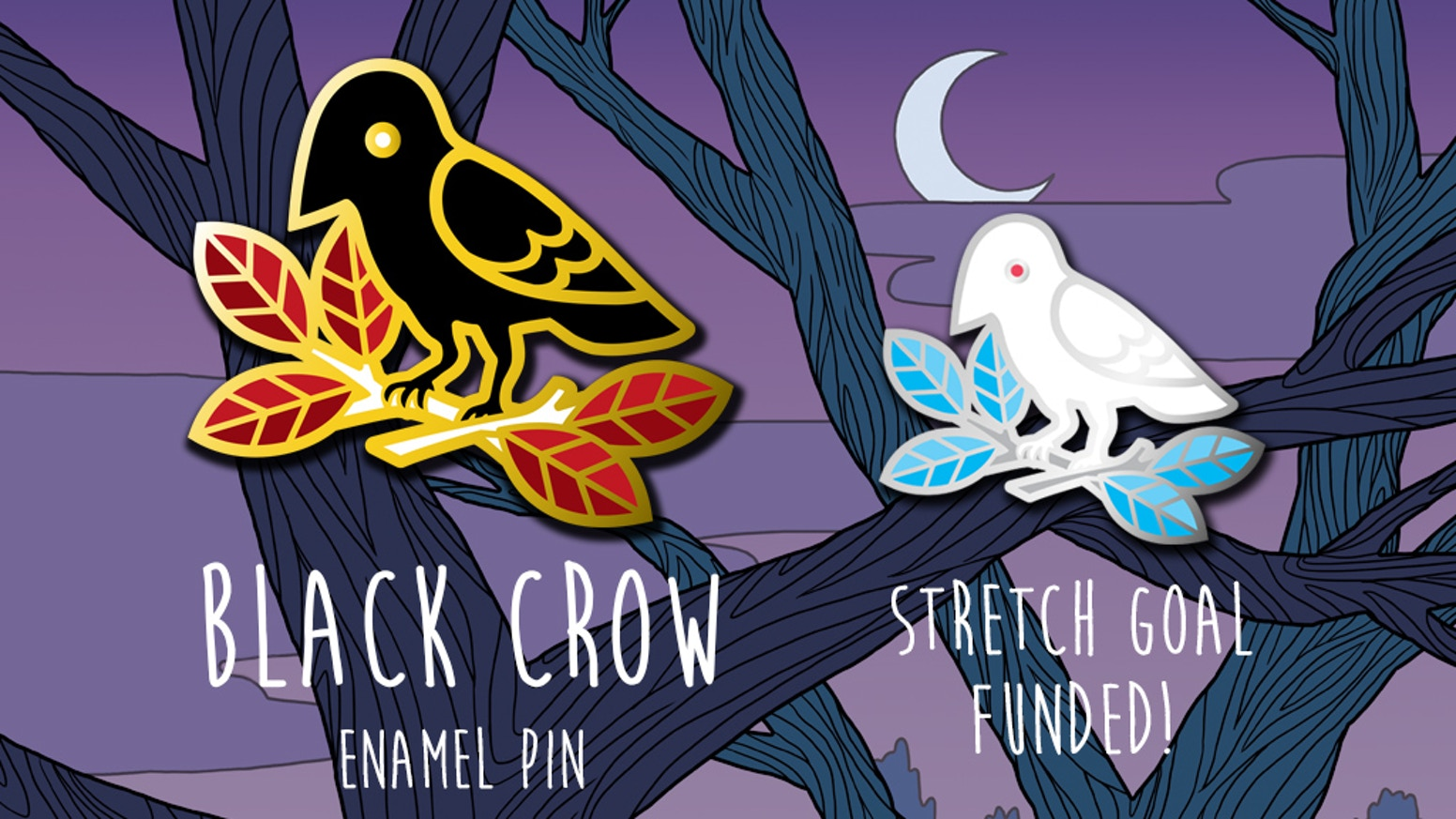 Get yourself a stylish crow enamel pin and a matching print full of mystery.