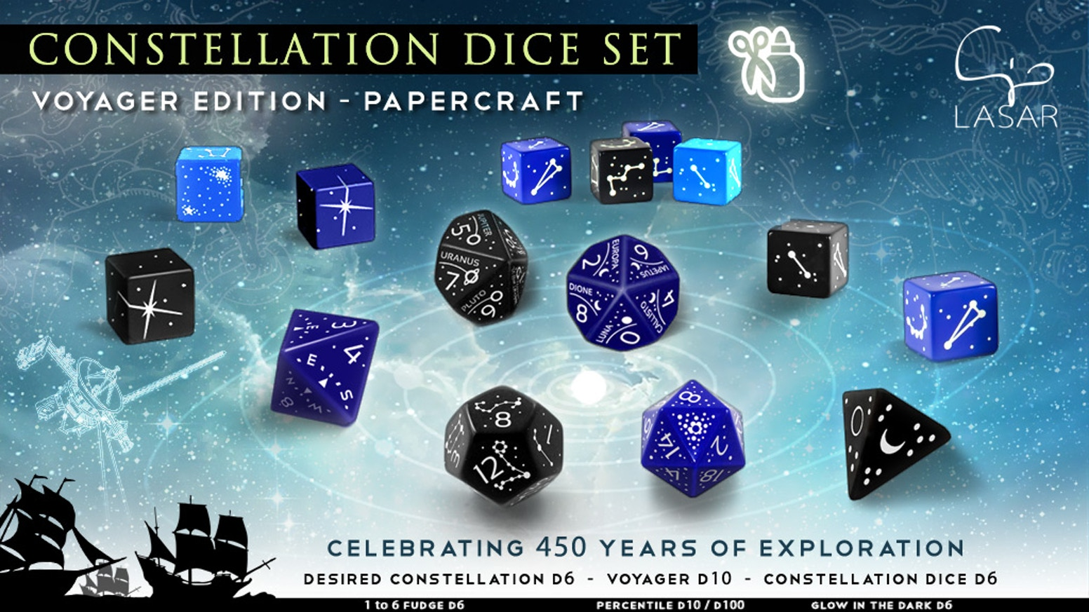 9 pdf templates to build your supersized Constellation Dice set.