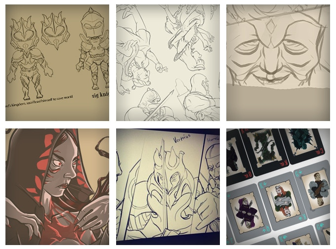 sketches of game in the process of creation