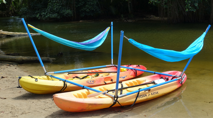 Rocking the Hammocraft™ on kayaks in Costa Rica