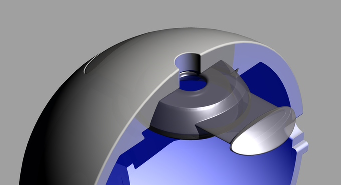 Clip with sphere cut in half